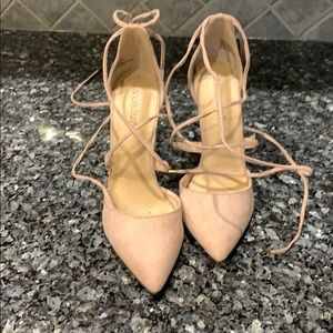 "Pink ""suede"" lace up closed toe, 4.5"" heels, 8"